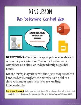 Mini Lesson: Determine Central Idea