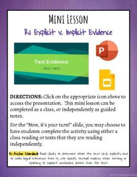Mini Lesson: Explicit v. Implicit Text Evidence
