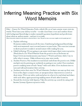 Mini-Lesson: Inferring Meaning with Six Word Memoirs