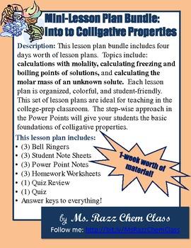 Mini Lesson Plan Bundle: Colligative Properties
