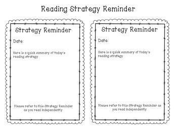 Mini Lesson Strategy Reminder