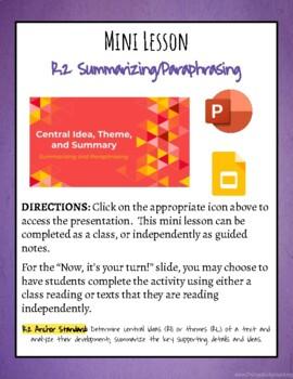 Mini Lesson: Summarizing and Paraphrasing