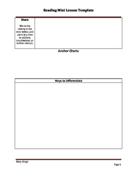 Mini Lesson Template