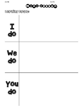mini lesson template i do we do you do clear easy to use tpt