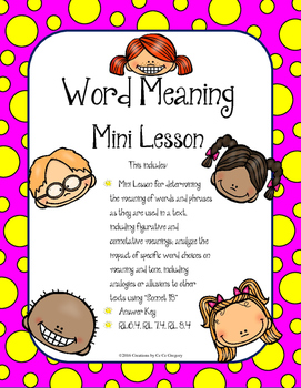 Determine the Meaning of Words and Phrases & Analyze the I