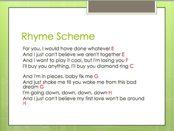 Mini Lesson on Lyrical Poetry and Rhyme Scheme