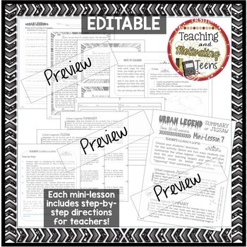 Mini-Lessons 2 Teen Relevant Middle & High School Editable English Language Arts
