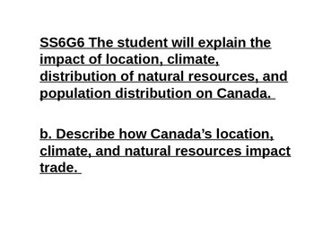 Mini Lessons- Canada- history, government, economics, geography