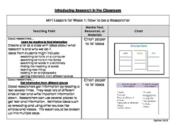 Mini Lessons for Introducing Research