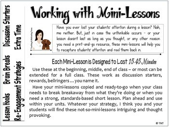 Middle School ELA Mini Lessons | High School English | Sub Plans ELA