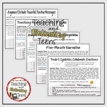 Middle School ELA Mini Lessons | High School English | Sub Plans ELA