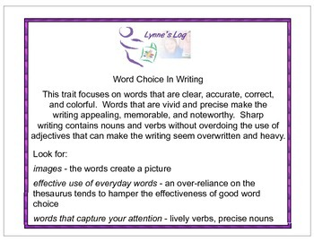 Mini-Lessons to Develop Word Choice in Writing (grades 2-5)