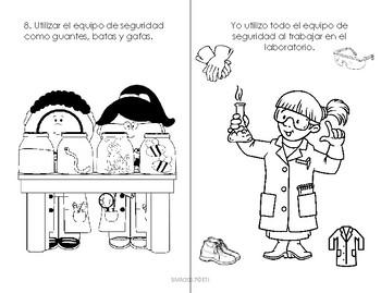 Mini Libro de Reglas de Seguridad e instrumentos de laboratorio