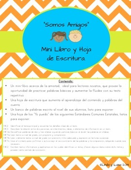 "Mini Book and Writing Prompts In Spanish ""Somos Amigos"""