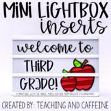 Mini Lightbox Inserts   Back to School FREEBIE