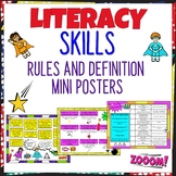 Mini Literacy Skills Rule and Definition Posters NZ AU UK