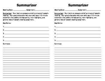 Mini Literature Circle Role Sheets By Erin Heitzman Tpt