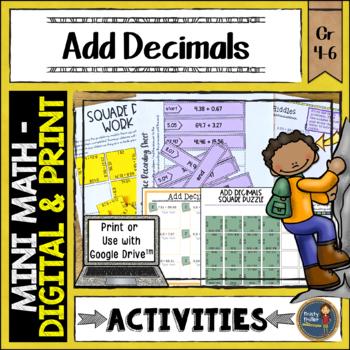 Adding Decimals Math Activities Google Slides and Printable
