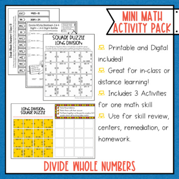 Dividing Whole Numbers Math Activities