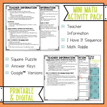 Multiplying Two Decimals Math Activities