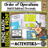 Order of Operations Add Subtract Decimals Math Activities