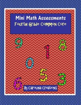 Mini Math Assessments Bundle - Fourth Grade Common Core