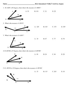 Mini Math Assessments - Measurement and Data - Fourth Grade Common Core Math