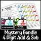 Mini Math Mystery 4 Digit Addition and Subtraction Regrouping Bundle