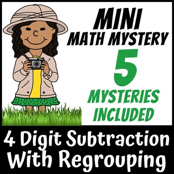 Mini Math Mystery - 4 Digit Subtraction with Regrouping Zoo Safari Animals