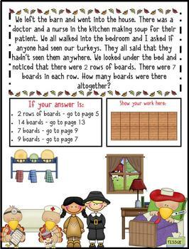 2nd & 3rd Gr. Word Problems -Mini Math Mystery Bundle -Case of Tippy-Toe Turkeys