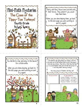 Mini Math Mystery Bundle Grade 3 and 4 - Case of the Tippy-Toe Turkeys-CCSS