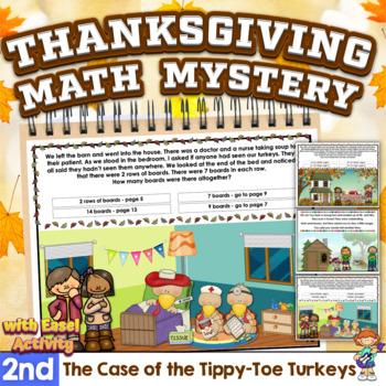 Mini-Math Mystery-Case of the Tippy-Toe Turkeys-Grade 2-CCSS