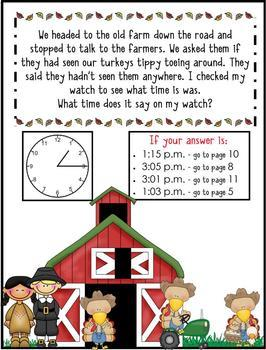 2nd Grade Word Problems - Mini-Math Mystery - Case of the Tippy-Toe Turkeys