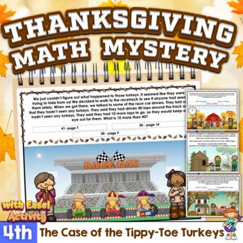 4th Grade Word Problems - Mini-Math Mystery - Case of the Tippy-Toe Turkeys