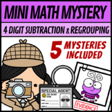 Mini Math Mystery Valentines Day - 4 Digit Subtraction with Regrouping