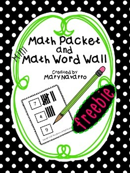 Mini Math Word Wall and Activity Packet Freebie