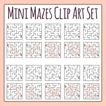 Mini Mazes - 10 Small Mazes Clip Art Set for Commercial Use