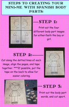 Mini-Me Boy and Girl Students with Spanish body part labels to cut & paste