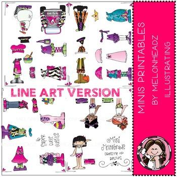 Mini Melonheadz paper dolls LINE ART - by Melonheadz