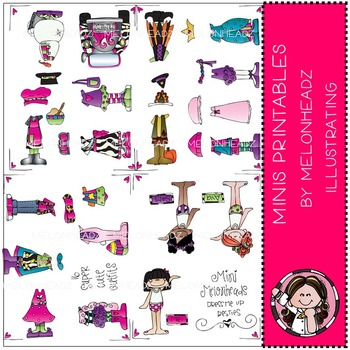 Mini Melonheadz paper dolls by Melonheadz COMBO PACK