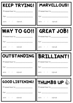 Mini Merit Certificates
