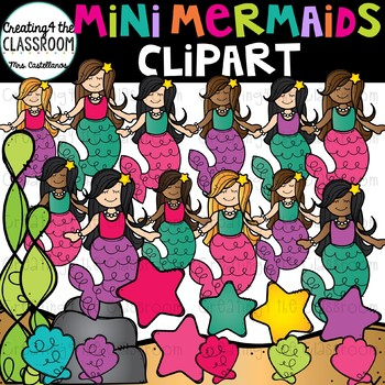 Mini Mermaids Clip Art {Mermaid Clip Art}
