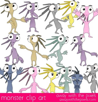 Mini Monster Clip Art Commercial Use OK 15 Color and Black White Images