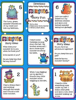 Mini Monster Writing Starters, Writing Templates, and Rubric