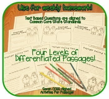 Mini Monthly Close Reading Club {50+Passages FOUR differentiated reading LEVELS}