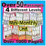 Mini Monthly Close Reading BUNDLE 50+Passages FOUR differentiated reading LEVELS