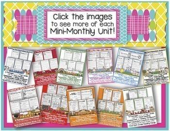 MINI Monthly Close Reading BUNDLE 50+Passages 4 Reading LEVELS 1000+pg Activity