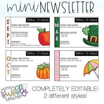 Editable Monthly Mini Newsletter - Half Page - Perfect for Notebook!