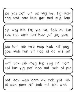 Mini Nonsense Word Fluency Fans