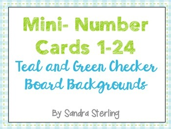 Mini Number Cards in Blue and Green